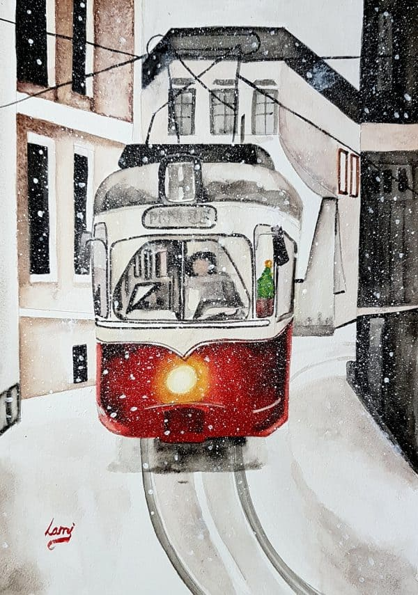 Hangolódás a télre - Egyedi Akvarell festmény Lamitól
