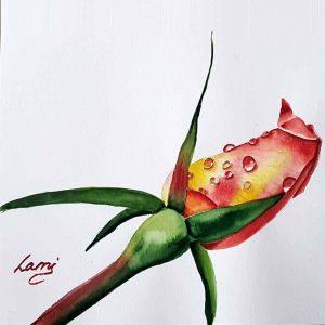 Akvarell tanfolyam – Sárga rózsa festése