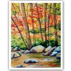 Őszi táj festése akvarellel