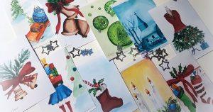 Karácsonyi képeslap akvarellel
