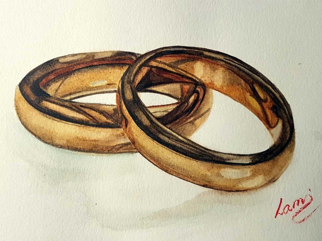 Jegygyűrűk festése akvarellel