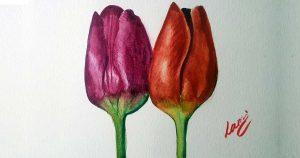 Akvarell tanfolyam - Két tulipán festése