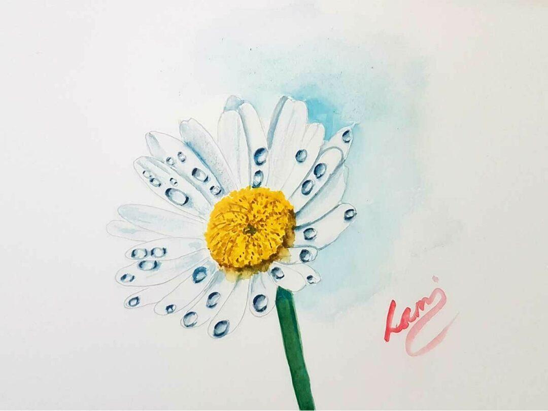 Vizcseppes virág festése akvarellel