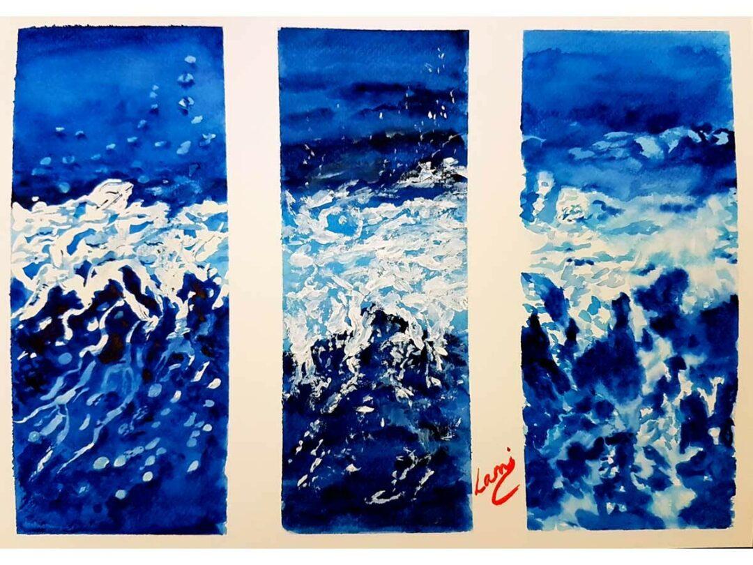 Akvarell festmény - A tenger hullámai
