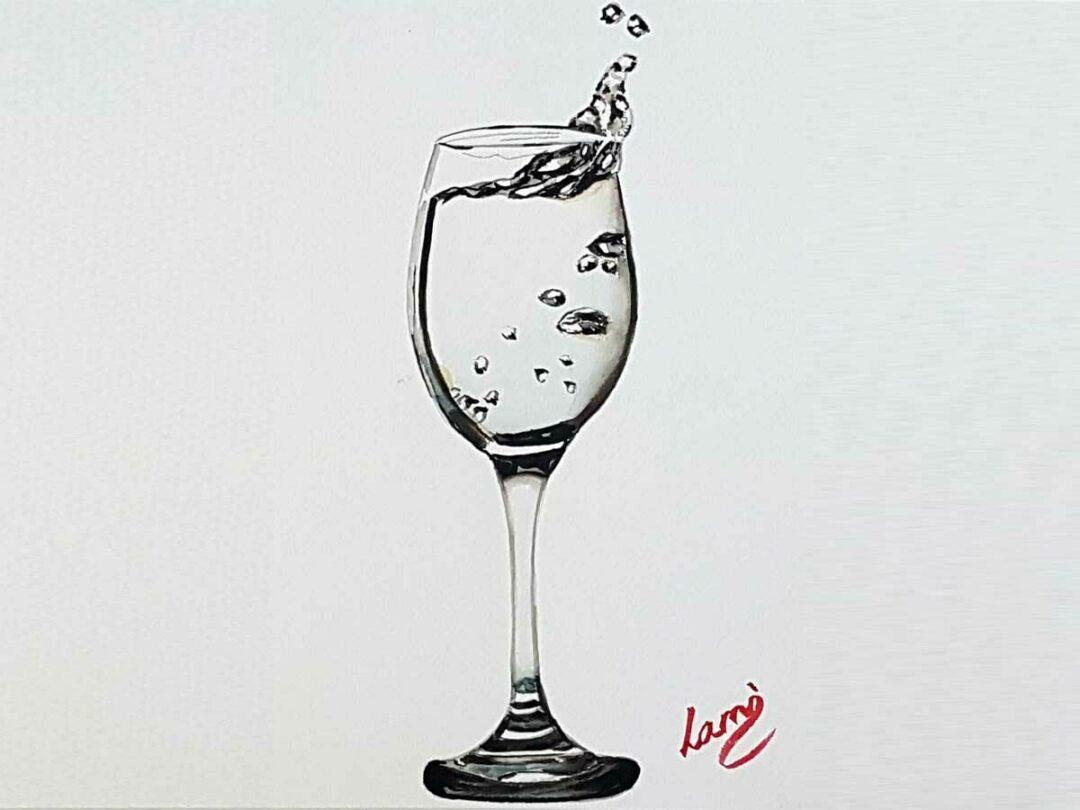 Pohár kicsobbanó vízzel akvarell festés